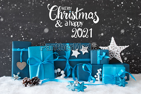 turquois gift snowflakes merry christmas and
