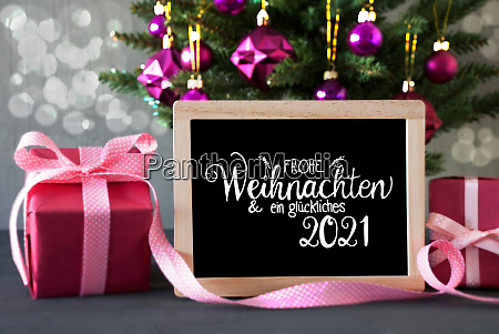 christmas tree pink gift bokeh glueckliches