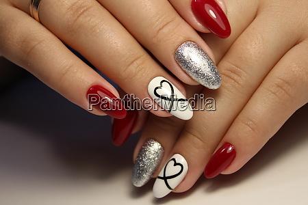 stylish design of manicure on beautiful
