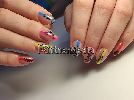 fashion manicure of nails on a