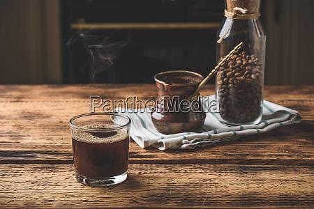 freshly brewed turkish coffee in drinking