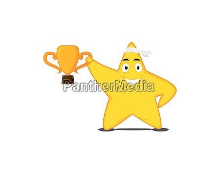 a champion star holding a trophy