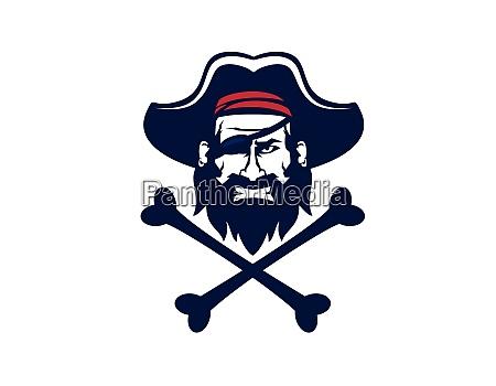 pirates head or captain head mascot