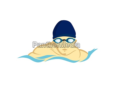 swimming man figure with goggles illustration