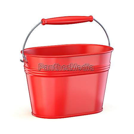 red metal bucket 3d
