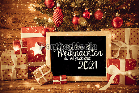 christmas tree gift text glueckliches 2021