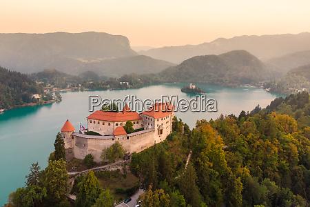 aerial panoramic view of lake bled