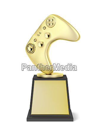 gold video gaming trophy