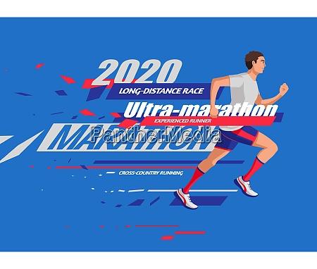 flat style marathon banner design with