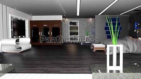 3d rendering hotel bedroom