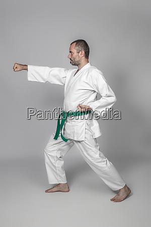 martial arts practitioner performing a kata