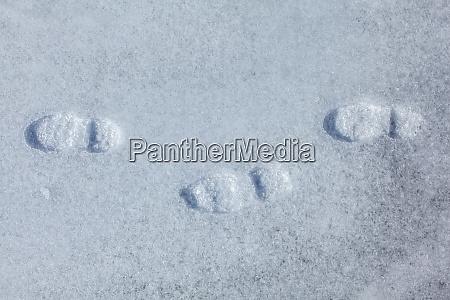 top view on three footprints in