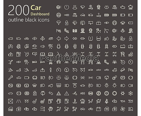 car dashboard outline iconset