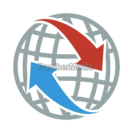 icon of globe with arrows