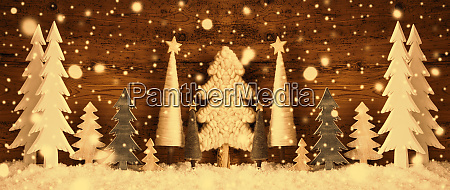 banner christmas trees snow brown retro