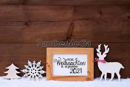 deer snowflake snow tree glueckliches 2021