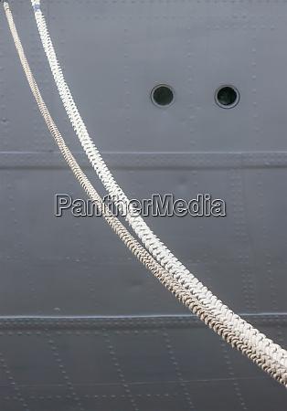 ship hull and mooring lines