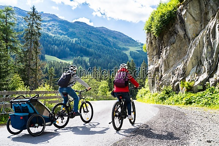 family with e bike mtb and