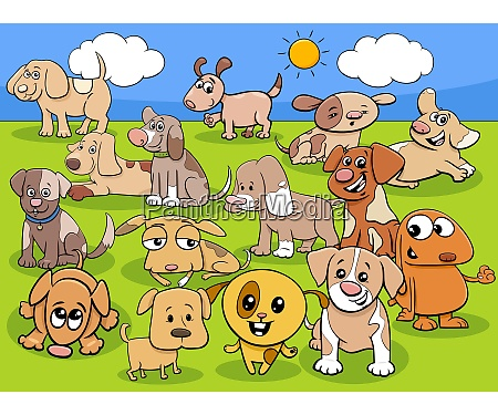 cartoon puppies comic animal characters group