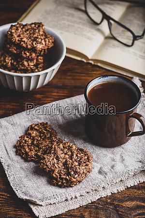 banana oatmeal cookies with coffee