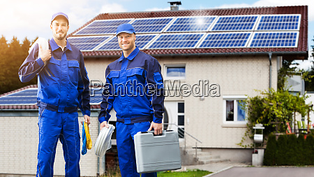 smiling electrician repair technicians