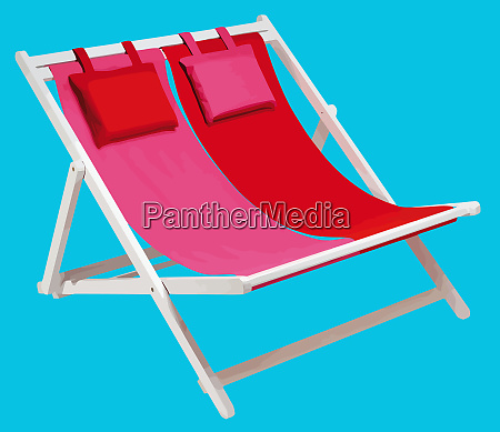 beach chair summer relax red illustration