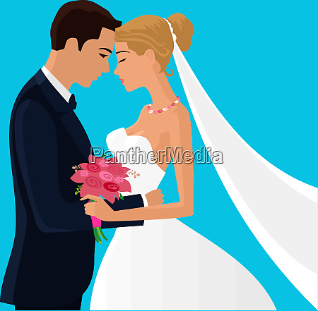 married couple love ceremony illustration