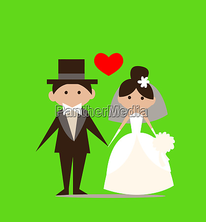 married couple love heart ceremony illustration