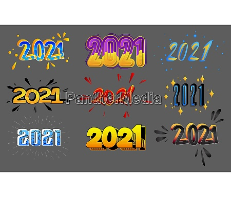 set of cartoon 2021 new year
