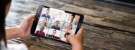 video elearning conference call on tablet
