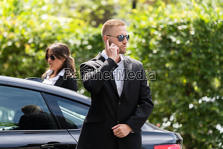 business security guard service at work