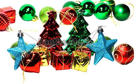 arrangement of beautiful christmas decorations on