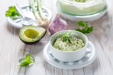 avocado spread with curd cheese and