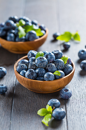 fresh organic blueberry in bowl on