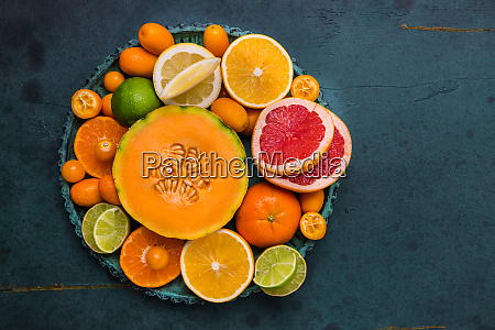flat lay layout of fruit citrus