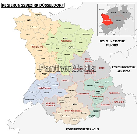 administrative vector map of the dusseldorf