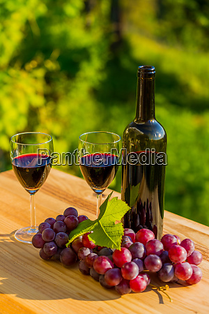 wine bottle and grapes