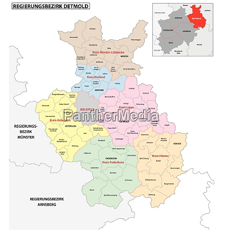 administrative vector map of the detmold
