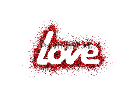 word love on red glitter isolated