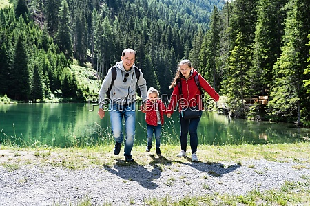 family with child girl at mountain