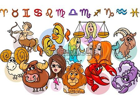horoscope zodiac signs collection cartoon illustration