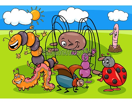 insects and bugs cartoon characters group