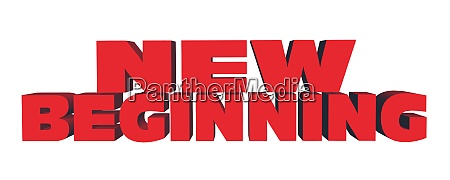 new beginning lettering in red color