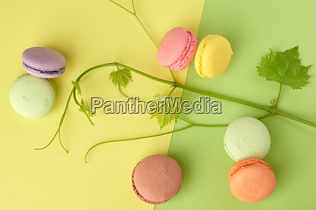 round multi colored baked macarons top