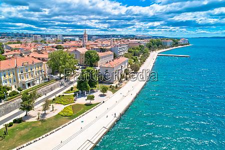 city of zadar waterfront aerial panoramic