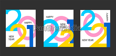 set banners for 2021 new year