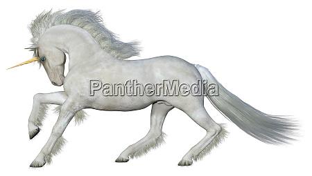3d rendering fairy tale white unicorn