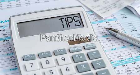 a calculator with the word tips