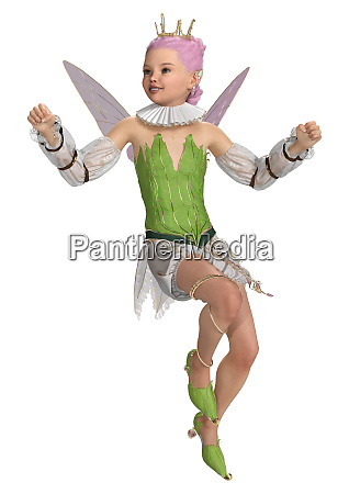 3d rendering forest princess on white