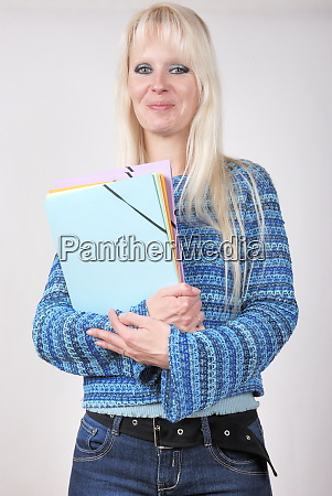student with folder